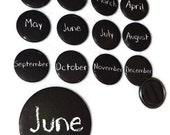 """Calendar Month Magnets Back to School Chalkboard Design Choose 1.5"""" or 3"""" Size"""