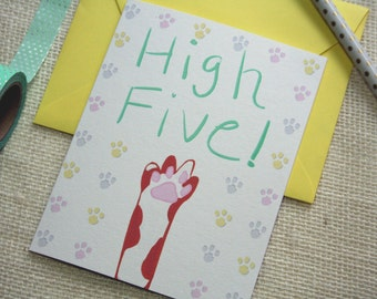 "Illustrated Hand Lettered ""Cat's Paw High Five"" Congratulations Blank Greeting Card"