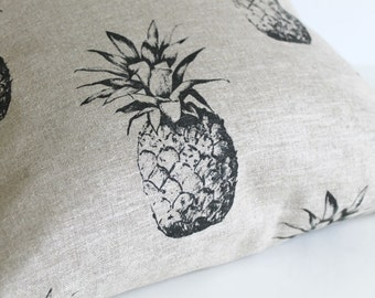 100% Linen Pillow Cover, 18 Inch Pillow Cover, Pineapple Pillow, 18x18 Pillow Sham, Cushion Cover, Throw Pillow Cover - Pineapple Black