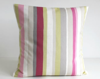 Throw Pillow Cover, 18 inch Pillow Cover, Accent Pillow, 18x18 Cushion Cover, Pillowcase, Throw Pillows, Pillow Sham - Scandi Stripes Rose