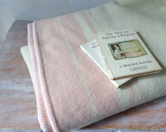 Vintage Wool Blanket in Cream with Rosy Pink Stripes