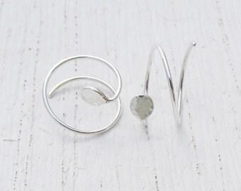 """1/2"""" Hoop Earrings for Two Piercings. Argentium Sterling Silver Double Hoops. Textured Hoops Hammered Eco-Friendly Earrings Double Hoops"""
