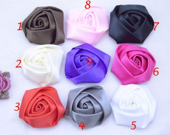 8 Assorted color roses / satin roses / ribbon flower / Satin Flowers / fabric flower / Satin Rose Flowers 45x20mm