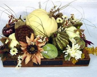 Fall White Pumpkin Centerpiece Floral Arrangement Autumn Wedding cream brown green by Cabin Cove Creations