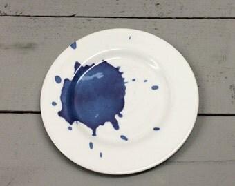 Blue Splash bone china tea plate.