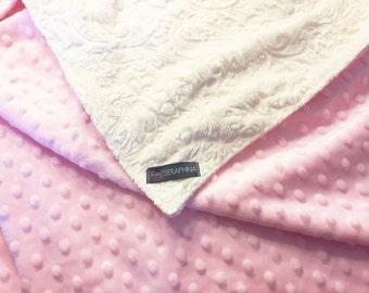 Baby Girl Minky  Blanket - Baby Pink and Cream - Etsykids Team - Baby Blanket - Embossed Minky Blanket - Baby Shower Gift