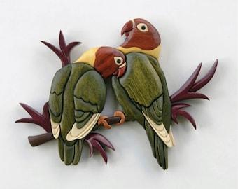 Love Birds Intarsia Wall Hanging Wood Carving Wooden Bird Decor