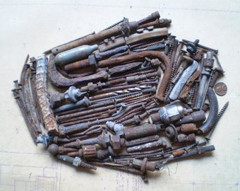 132 Rusty Metal Bolts, Nails and Parts - Industrial Salvage - Found Objects for Assemblage, Sculpture or Altered Art - Salvaged Supplies