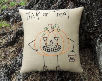 Mustache Pumpkin Pillow, Halloween Tuck, Hand Embroidered Stitchery, silly, happy, unique halloween decoration, Funny jack o lantern, BOO