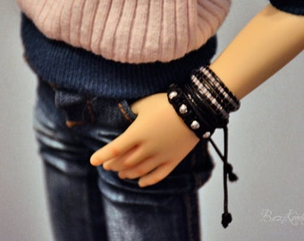 Classic black gothic punk bracelet set for BJD MSD 1/4 doll Dollfie