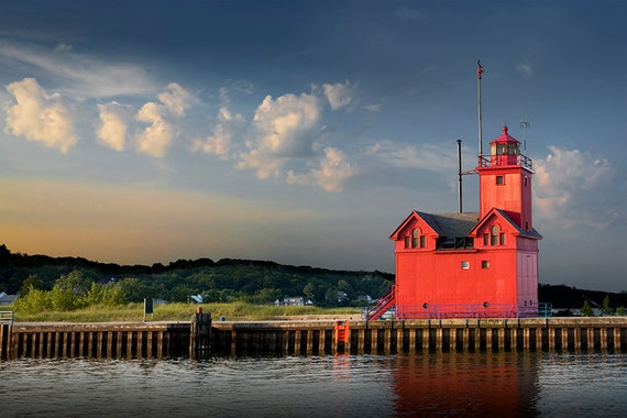Big Red Lighthouse at Sunrise by Ottawa Beach at Michigan State Park by Holland Michigan No.812 Nautical Seascape Lighthouse Photography