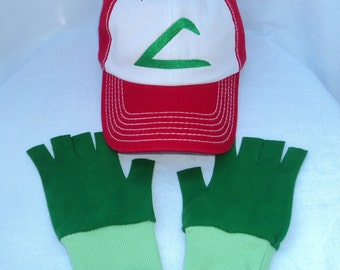 Ash Ketchum Trainer FABRIC Hat and  Green Gloves set  Halloween costume Pokemon Choose your Size