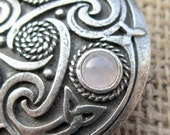Rose Quartz Celtic knotwork shield brooch - chunky pewter with triquetras pale pink crystal