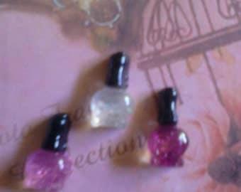 Kawaii princess nail polish cabochons  decoden deco diy charms  3 pcs---US SELLER