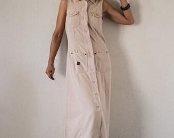 90s Khaki Denim A Line Maxi Shirt Dress /// Size M