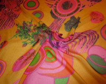 Mustard Gold with Fuchsia Pink Op Art Print Pure Silk Chiffon Fabric--One Yard