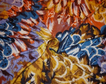 Bright and Colorful Allover Feather Print Pure Silk Jersey Fabric--One Yard
