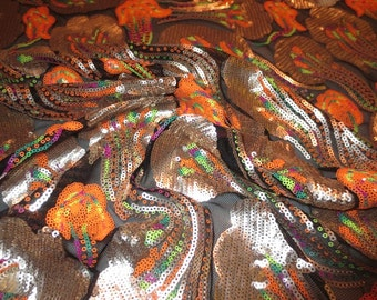 Platinum and Bright Orange Art Nouveau Design Allover Sequin Stretch Tulle Fabric--One Yard