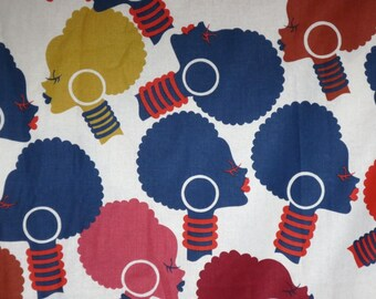Fabulous Navy and Red African Ladies Heads Print Pure Cotton Fabric--By the Yard