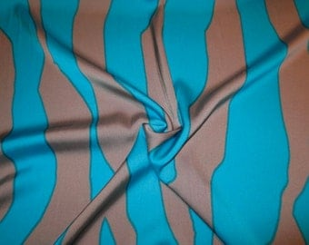 SPECIAL--Turquoise and Mauve Gray Animal Stripe Stretch Silk Charmeuse Fabric--One Yard
