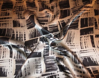Black and Ecru Paintbrush Print Pure Silk Charmeuse Fabric--One Yard