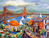 Golden Gate Bridge Landscape painting Original painting canvas art 18 x 24 Art by Elaine Cory