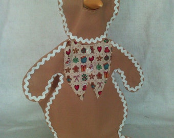 GOOSE HOLIDAY CLOTHING  -  Gingerbread Man for your lawn goose - Tan Felt -  Plastic or Concrete Lawn goose Clothing - goose clothes