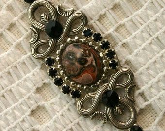 Genuine Leopardskin Jasper Bindi in Oxidized Silver