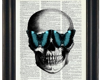 BOGO SALE Skull With Teal Butterfly Glasses Art Prints with HHP Original Design Wall Decor Steampunk Art Print Dictionary Prints