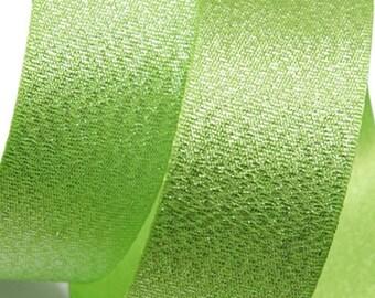 Metallic Sparkle Yellow Green Satin Ribbon - 15mm(5/8'') , and 25mm(1'')