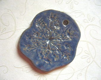 Blue Stone Queen Anne's Lace Ceramic Pendant