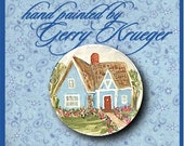 Hand painted button -  Blue Country Cottage