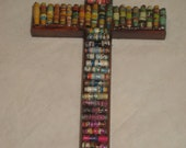Rainbow Paper Bead Embellished Cross