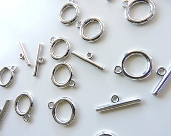 AntiqueTibetan Toggle Clasps  - Toggle Connectors - 10 Pcs (5 sets) - Ships from USA -Toggles for bracelets necklace