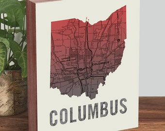 Columbus Ohio Map - Ohio State Decor - Columbus Map - Ohio Art - Wood Block Art Print