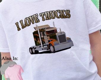 I love semi trucks kids personalized custom t-shirt i love big rigs semis car carriers super b