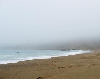 art, photography, coastal home decor, shoreline photo, California beach print, foggy morning image, room decor, gray, soft blues, mocha