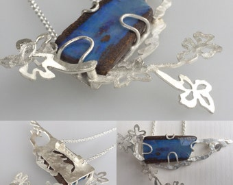 Boulder opal and sterling silver floral  Wildflower series