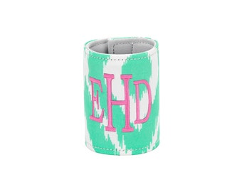Personalized Monogrammed Mint Ikat wrap Can Coooler--Free Monogramming--Fast Turnaround