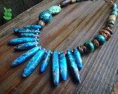 RESERVED for Eleonore Island Traders Sea Sediment Jasper, Turquoise and Copper Necklace