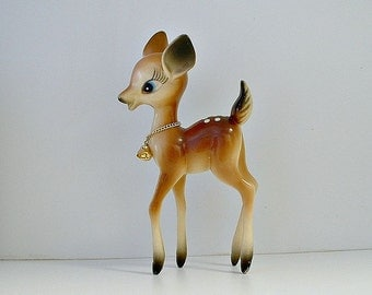 Vintage Deer Figurine Vintage Reindeer Fawn Doe Hard Plastic Hong Kong Bambi Christmas Decoration