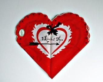Vintage Love Handkerchief I Love But Thee Red Heart Folded Shape Wedding Hankie  Arrows Eye Mask Valentine's Hankie Hanky Carol Stanley