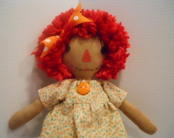 Raggedy Dolls PRIMITIVE, Yellow and Orange