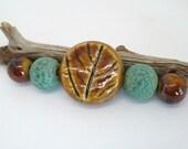 Brown Porcelain Leaf Bead Set
