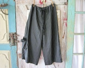linen pant in black and white pin stripe with pocket and tie ready to ship