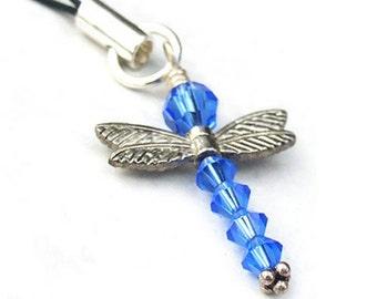 Blue Dragonfly Ornament Swarovski Crystal Sterling Silver