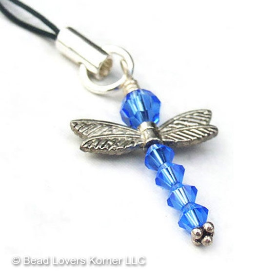 Blue Dragonfly Ornament Swarovski Crystal Sterling Silver