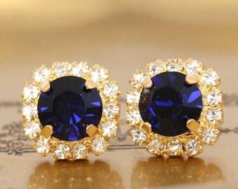 Blue Navy Earrings, Blue Studs, Bridal Blue Navy Studs, Gift For Her, Christmas Gift, Bridesmaids Earrings, Dark Blue Swarovski Earrings