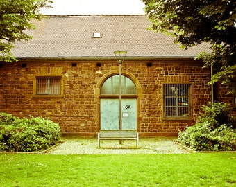 Germany Facade Travel Door Photography Bench Park Photo Rustic Home Decor Photograph Wall Art Green and Rust