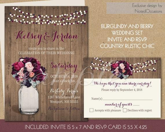Cottage Mason Jar Wedding Invitation: Country Mason Jar Wedding Invitation Set Purple By